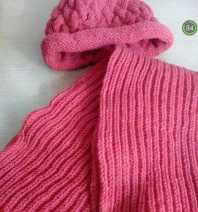 Вязаная шапка с шарфом, новые
