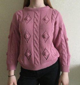 розовый винтажный свитер