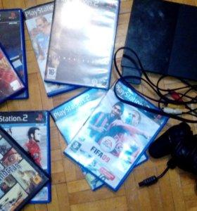 Sony playstation 2+джостик+игры