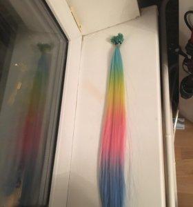 Цветные пряди для наращивания градиент