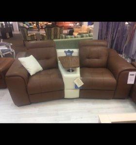 Кожаный диван Техас с электрореклайнером