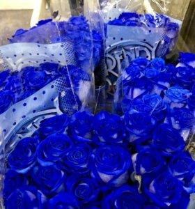 Синяя роза 60 см