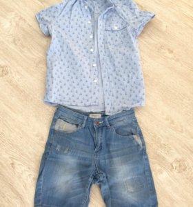 Джинсовые шорты и рубашка