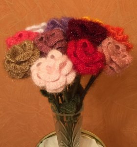 Вязаные цветы (Розы)