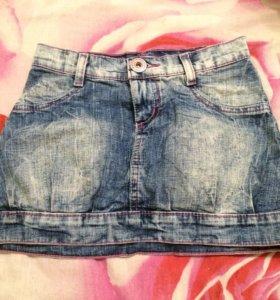 Юбка джинсовая с принтом