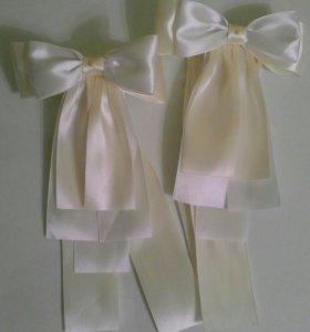 Банты для украшения свадебного шампанского