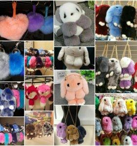 Зайцы сумки, брелки, панды и собачки, лисички