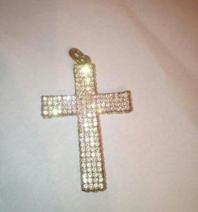 """Крупный кулон """"крест"""" с кристаллами"""