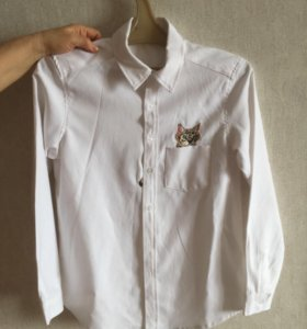 Рубашка хлопковая с котиком 800 рублей, 42 размер