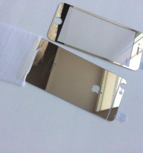 Защитное стекло iPhone 6 золото