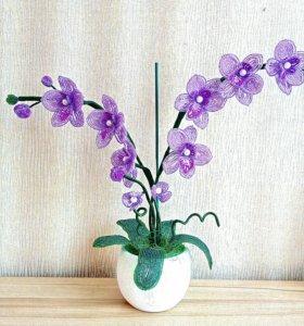 Оригинальный подарок-орхидеи из бисера.