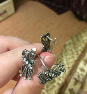 Серьги и кольцо серебряный набор