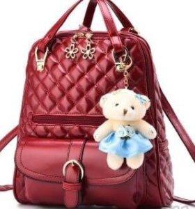 Рюкзак -сумка женский, красный, синий, черный