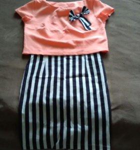Костюм ( юбка-карандаш + блузка )