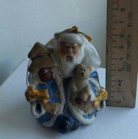 """Колокольчик """"Дед Мороз"""" (глина в глазури)"""