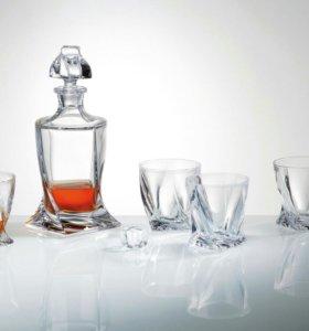 Виски сет ,,квадро,,графин + 6 стаканов.Bohemia