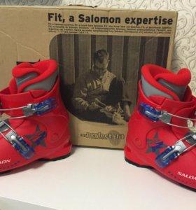 Salomon детские лыжи+ботинки, размер 19
