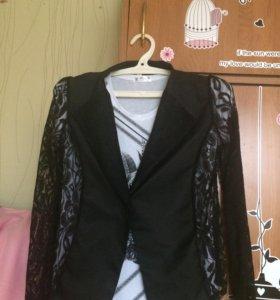 Пиджак кружевной,футболка и туника