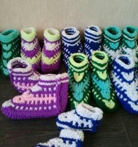 Тапочки носочки вязанные