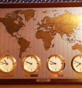 Часы настенные карта, подарочные