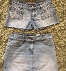 Джинсовые юбка и шорты