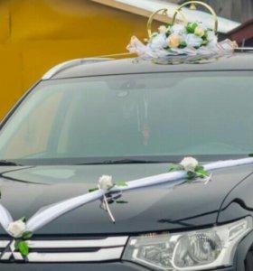 Свадебные украшения на машину (кольца и лента)