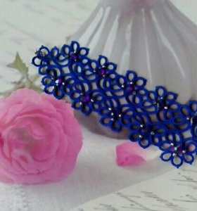 Синий браслет ручной работы