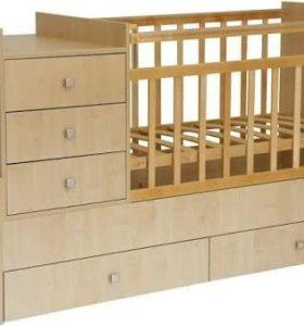 Кроватка-трансформер+держатель балдахина в подарок
