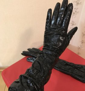 Перчатки кожа лакированная