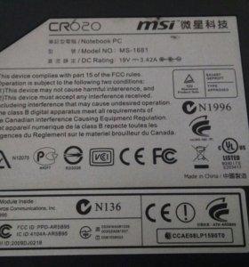 Ноутбук MSI CR-620