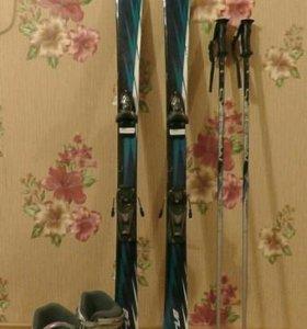 Горные лыжи, палки, ботинки