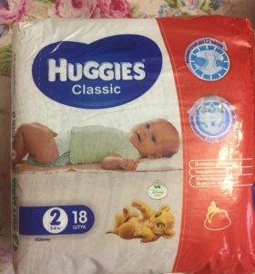 Памперсы Huggies упаковка целая+9 шт