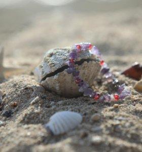Браслет из камня аметист и кристаллов