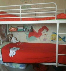 Кровать двухярусная + матрас
