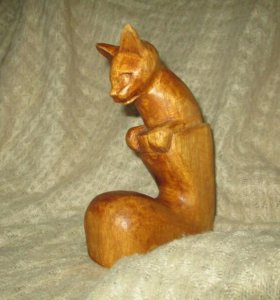 """Интерьерный сувенир из дерева """"Кот в сапоге""""."""