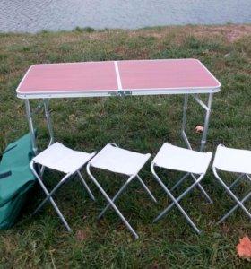 Стол складной 120х60 и 4 стула в чехле