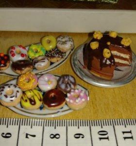 Пончики, торт миниатюра для кукол
