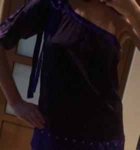Летняя шёлковая блуза на одно плечо