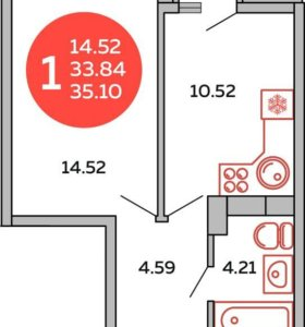 Квартира предчистовая отделка 35,7 кв.м