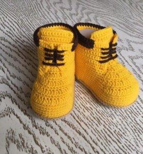 Пинетки - ботинки Тимберленды (вязаные)