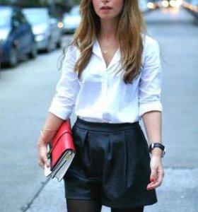 Zara кожаные шорты-юбка