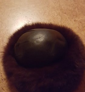 шапка кожа с чернобуркой