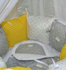 Круглая кроватка трансформер 7в1 из массива