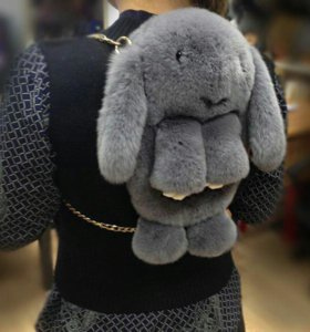 Рюкзак зайчик из нат меха