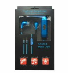 Новые светящиеся наушники Light earphone синие