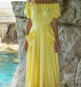Платья в пол желтое р 42 44 46