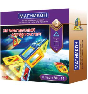 """Магнитный 3D-конструктор """"Старт"""", 14 деталей"""