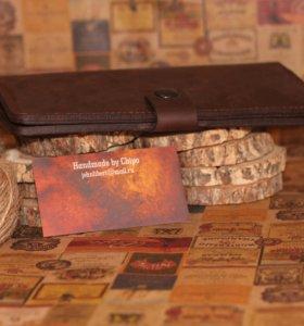 Клатч-портмоне ручной работы из натуральной кожи