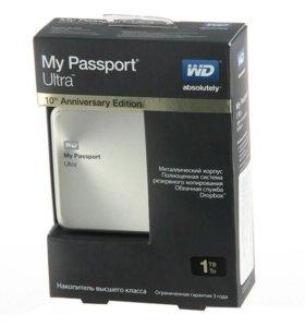 новый переносной ж/д на 1тб wd my pasport ultra