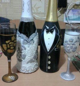 Декорирую бутылки